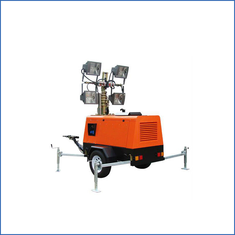 High mast mobile light tower with generator